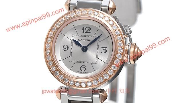カルティエ時計コピー ミスパシャスティール & ゴールド ダイヤモンド パヴェWJ124021